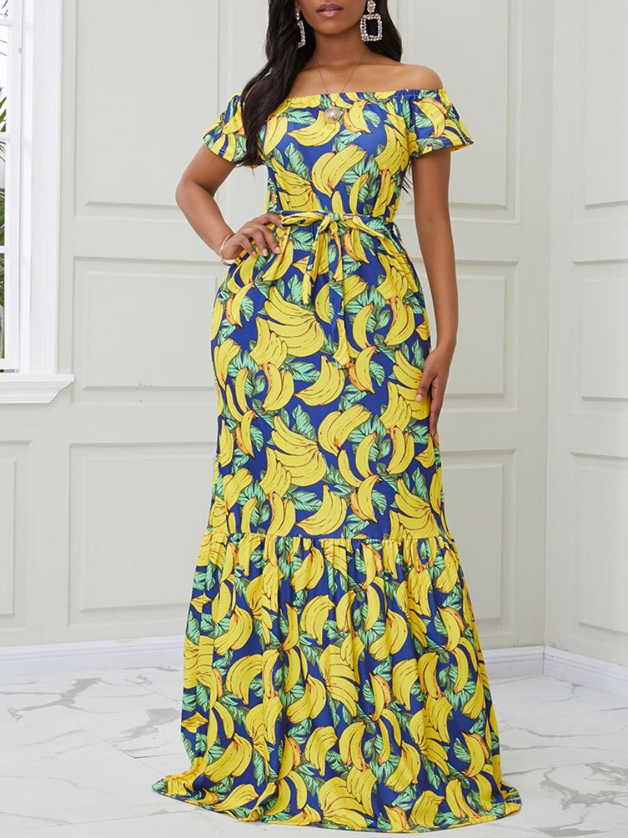 Lovely Casual Banana Print Multicolor Maxi Dress фото