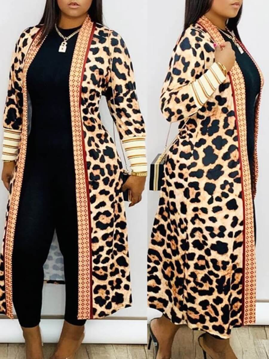 Lovely Casual Leopard Print Plus Size Coat