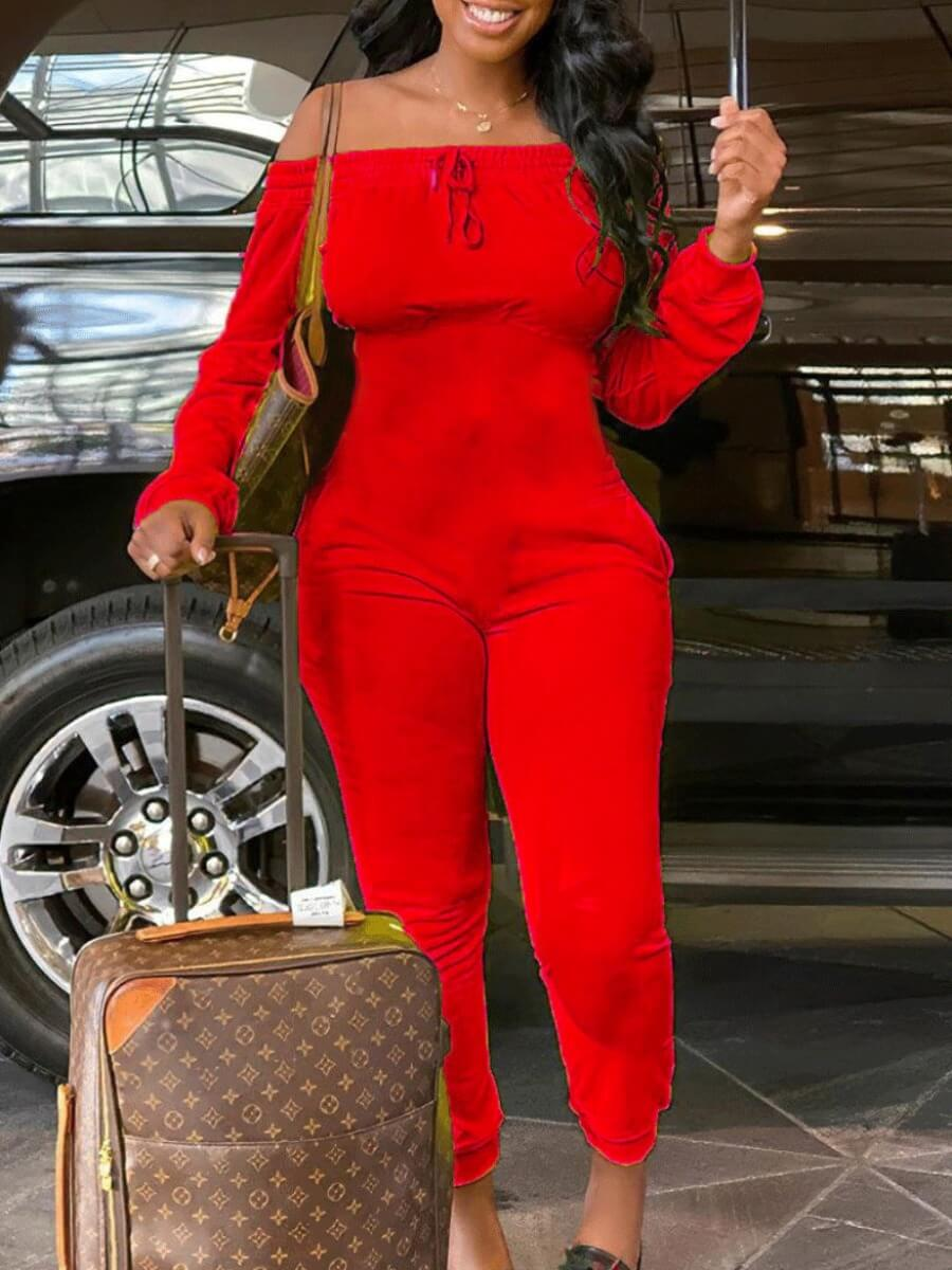 Lovely Leisure Dew Shoulder Basic Red One-piece Jumpsuit фото