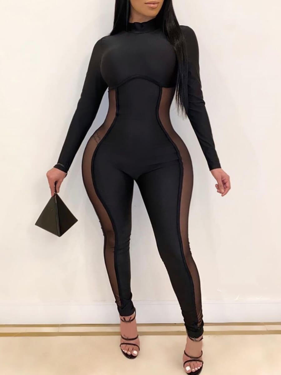 Plus Size Jumpsuit lovely Sexy Patchwork See-through Black Plus Size One-piece Jumpsuit фото