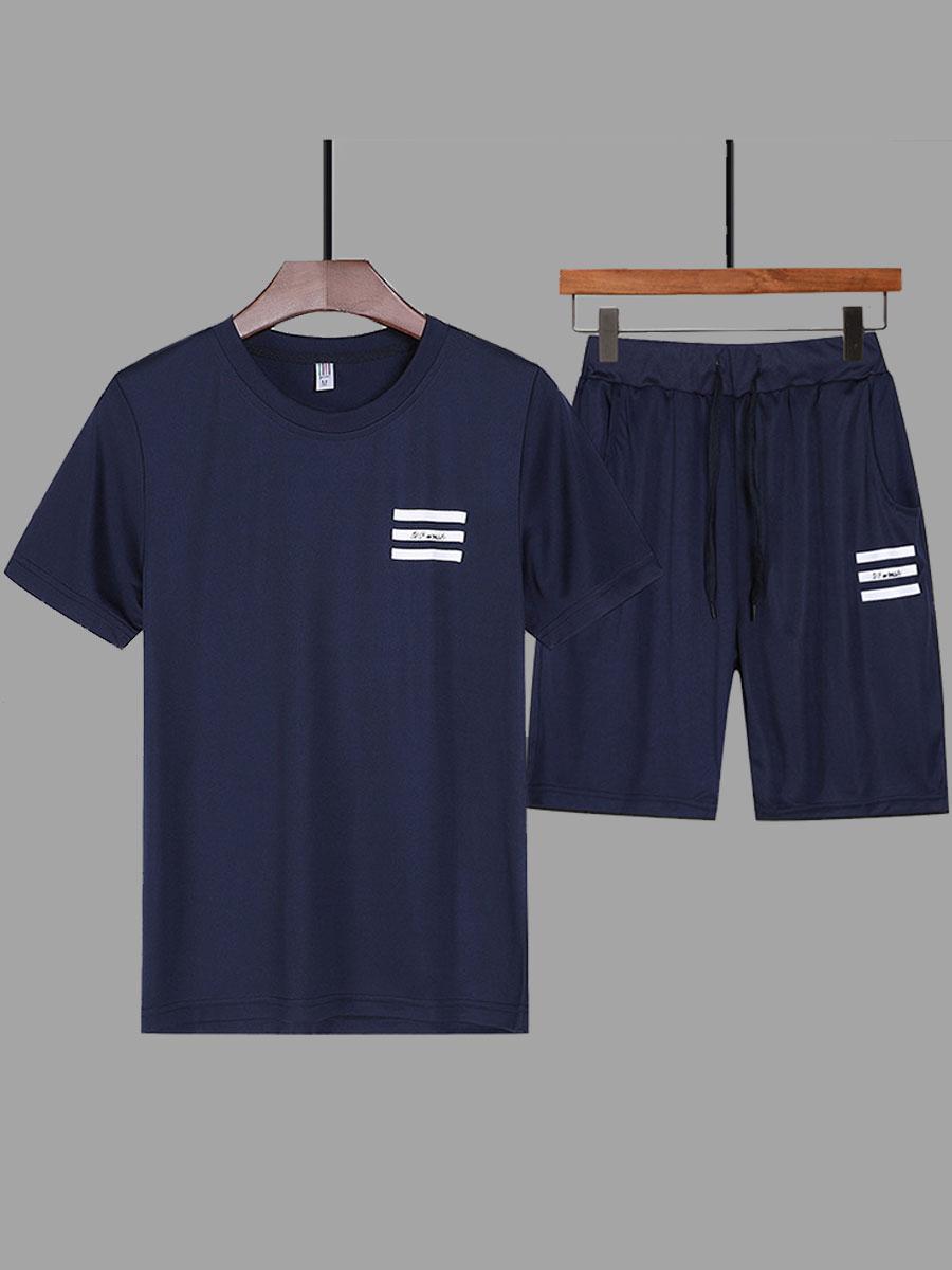 Lovely Sportswear O Neck Print Deep Blue Men Two-piece Shorts Set фото