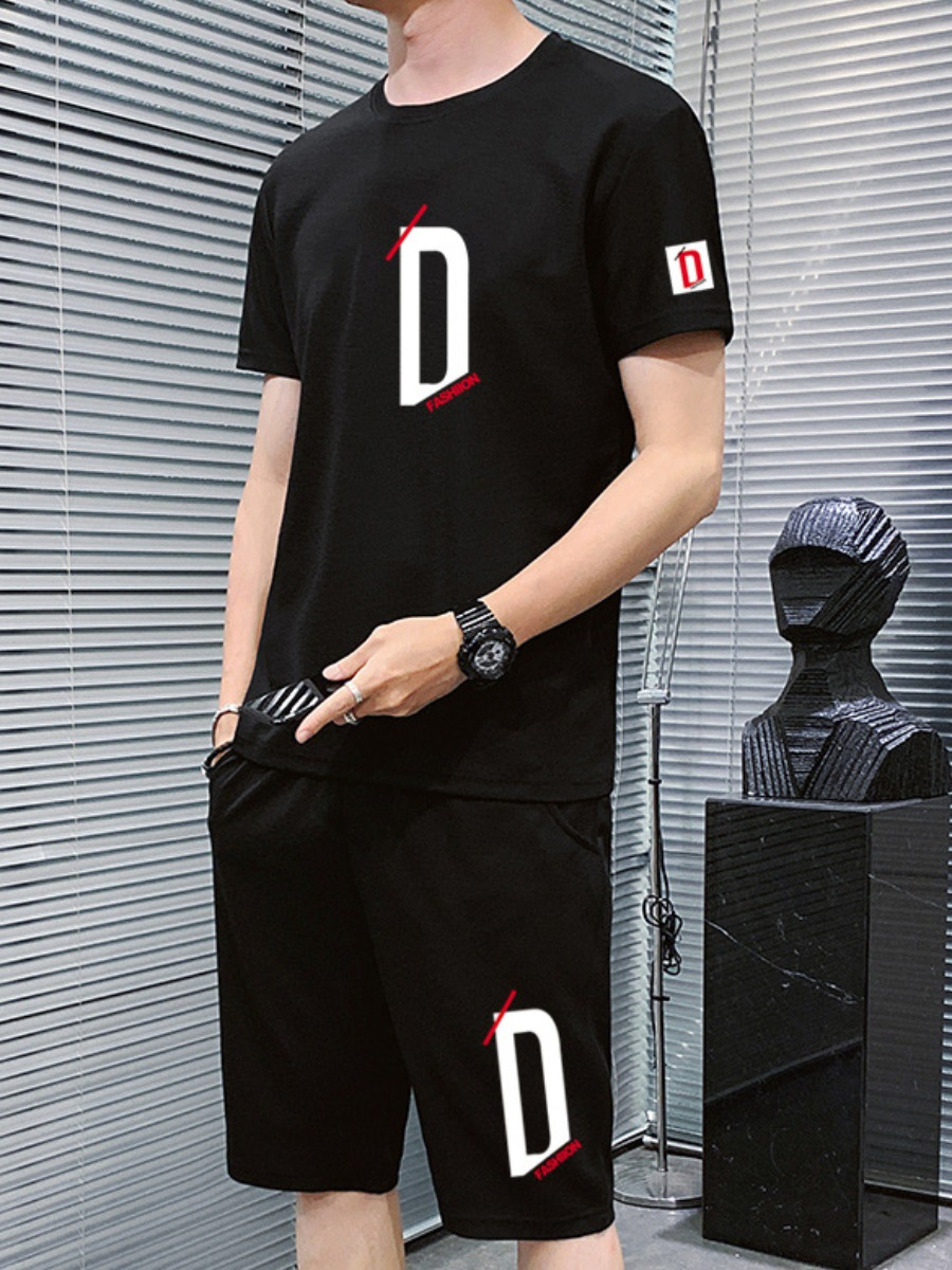 Lovely Casual O Neck Print Black Men Two-piece Shorts Set фото