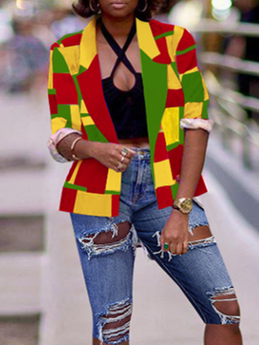 Blazer&Suits lovely Trendy Grid Print Multicolor Blazer фото