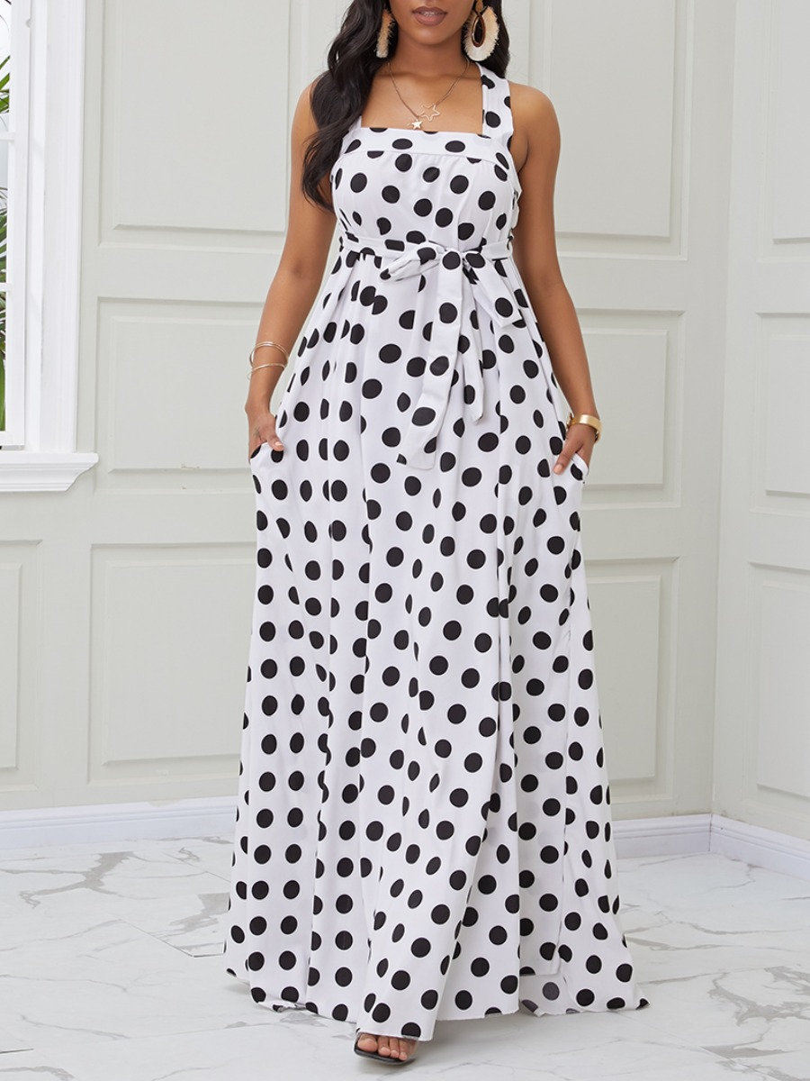 Lovely Trendy Backless Dot Print White Maxi Dress фото