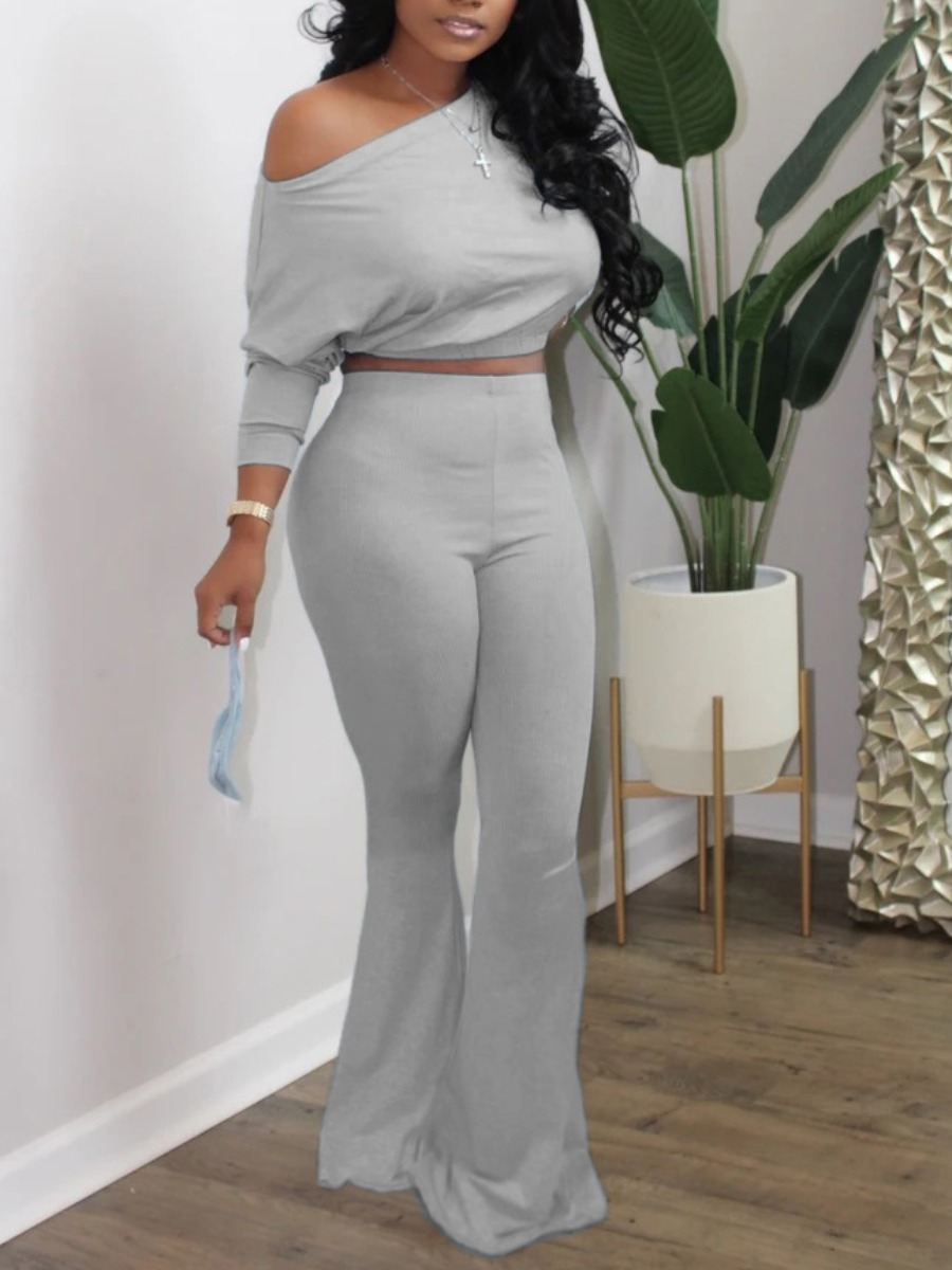 Two-piece Pants Set lovely Casual Flared Skinny Grey Two Piece Pants Set фото