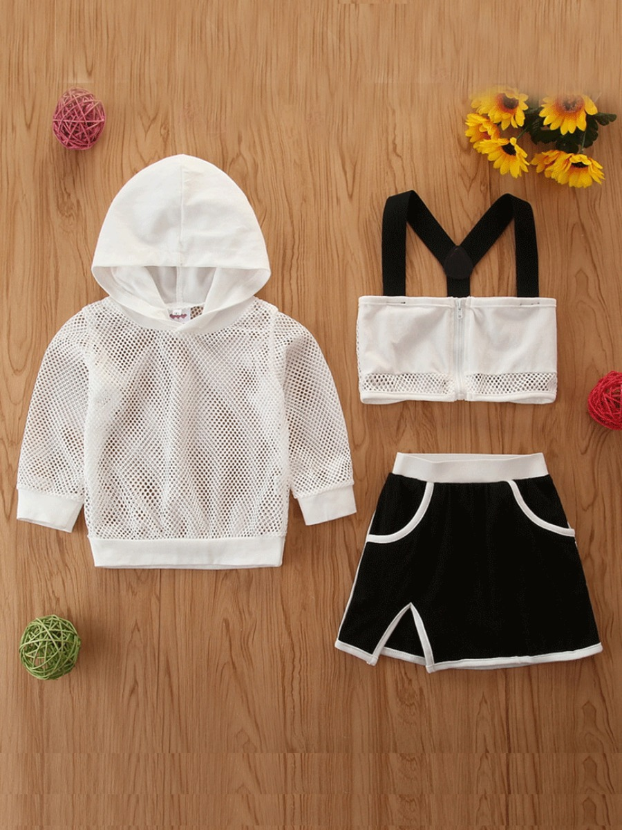 Girls Two-piece Skirt Set lovely Trendy Hooded Collar Patchwork White Girl Two-piece Shorts Set фото