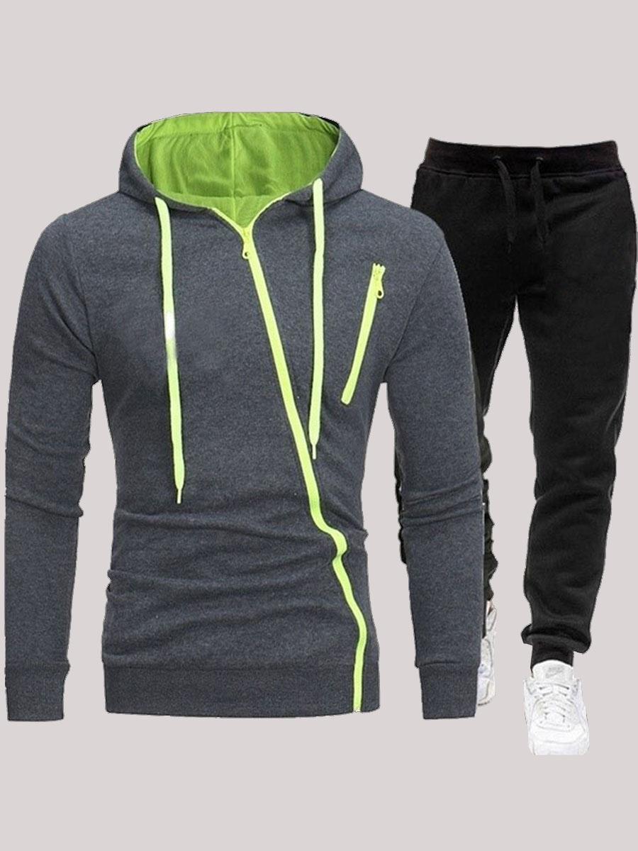 Lovely Sportswear Hooded Collar Zipper Design Dark Grey Men Two-piece Pants Set фото