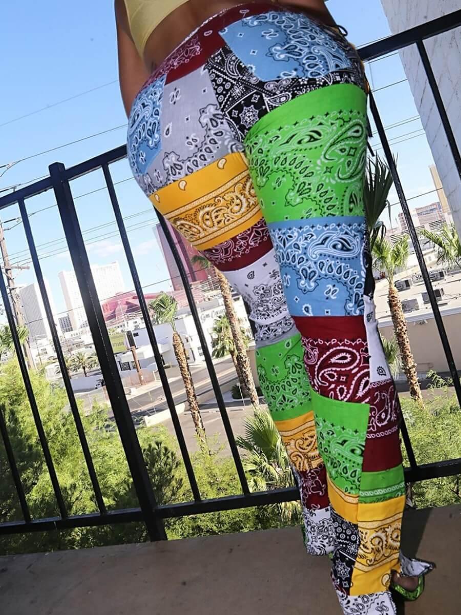 LW Plus Size Print Color-lump Patchwork Pants