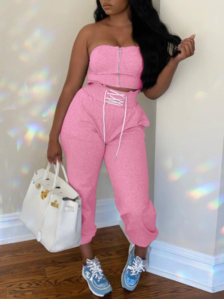 Two-piece Pants Set lovely Leisure Dew Shoulder Zipper Bandage Design Pink Two Piece Pants Set фото