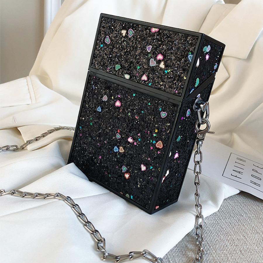 Messenger Bag&Crossbody Bag lovely Trendy Chain Strap Black Crossbody Bag фото