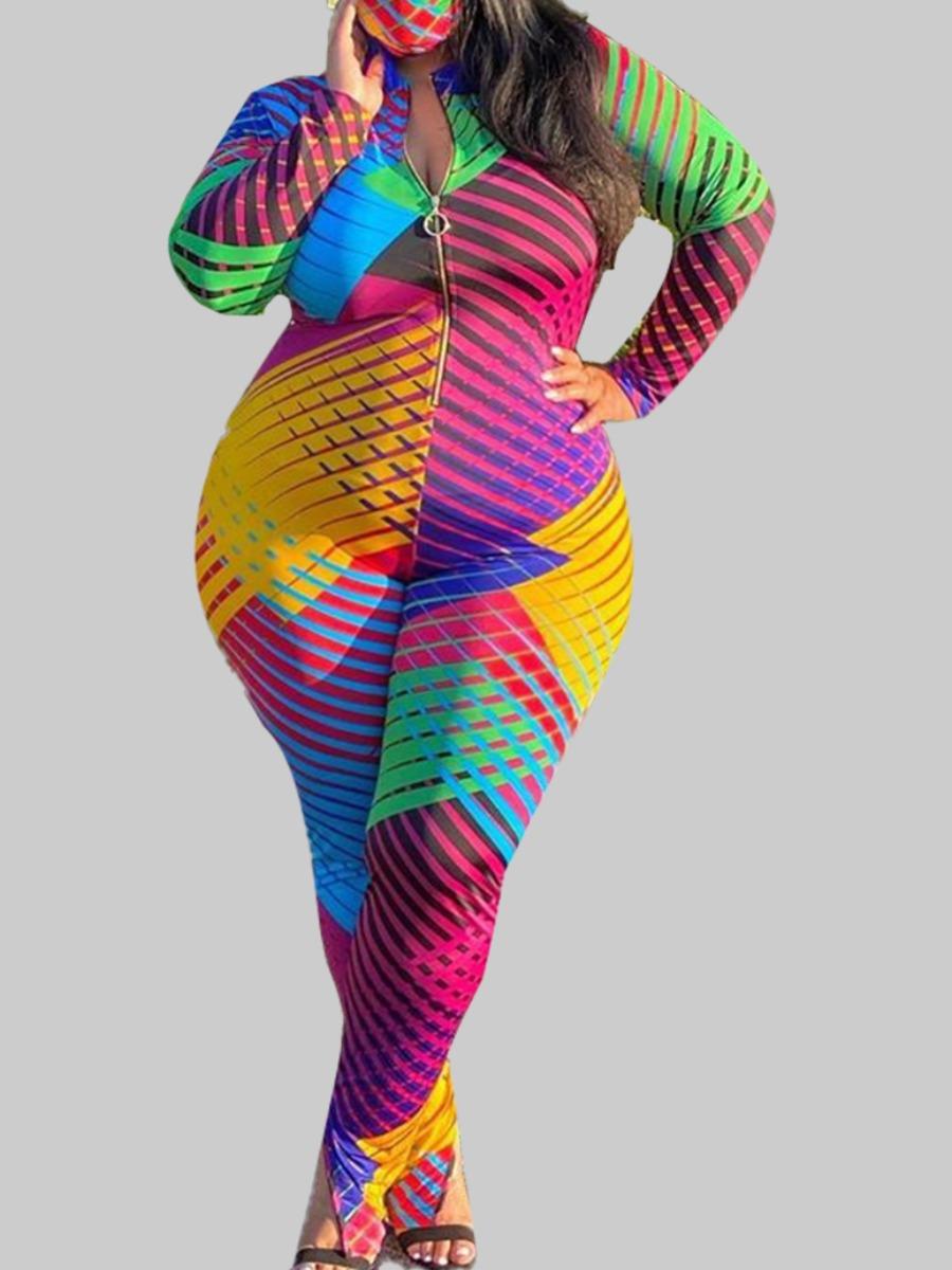 Plus Size Jumpsuit lovely Casual Print Zipper Design Multicolor Maxi Plus Size One-piece Jumpsuit фото