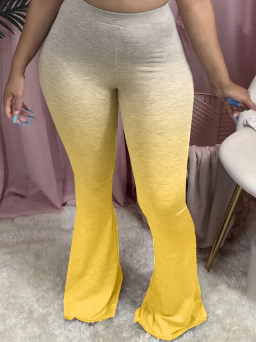 Lovely Street Gradient Flared Yellow Plus Size Pants фото