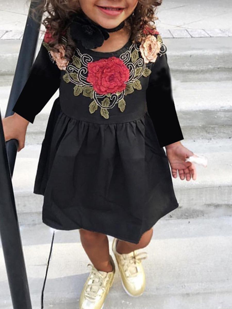 Girls Dress lovely Casual O Neck Print Black Girl Knee Length Dress фото