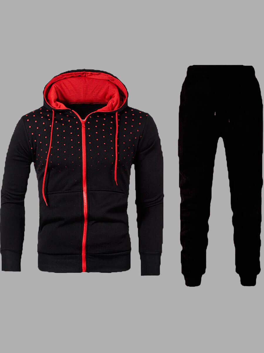 Lovely Sportswear Hooded Collar Zipper Design Black Men Two-piece Pants Set фото