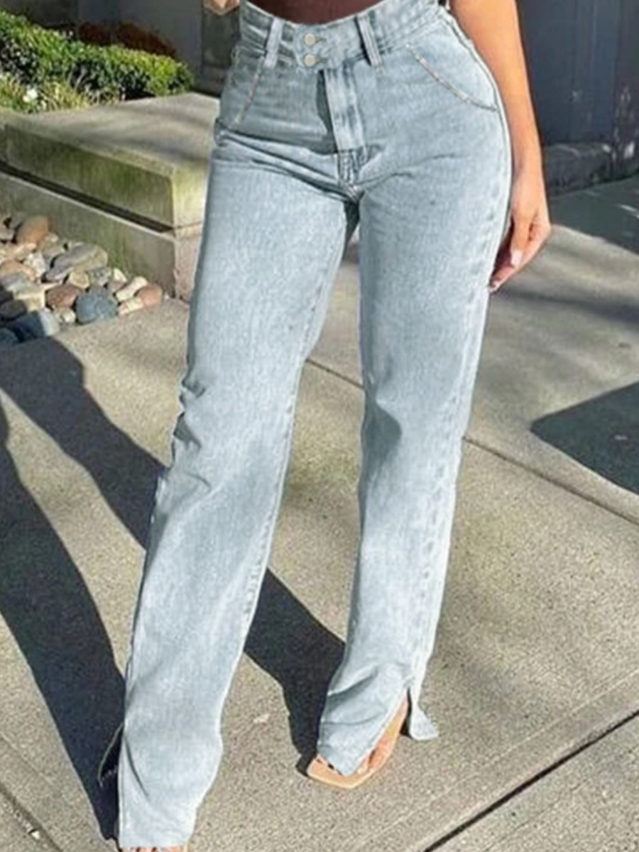 Lovely Casual Side Slit Baby Blue Jeans фото