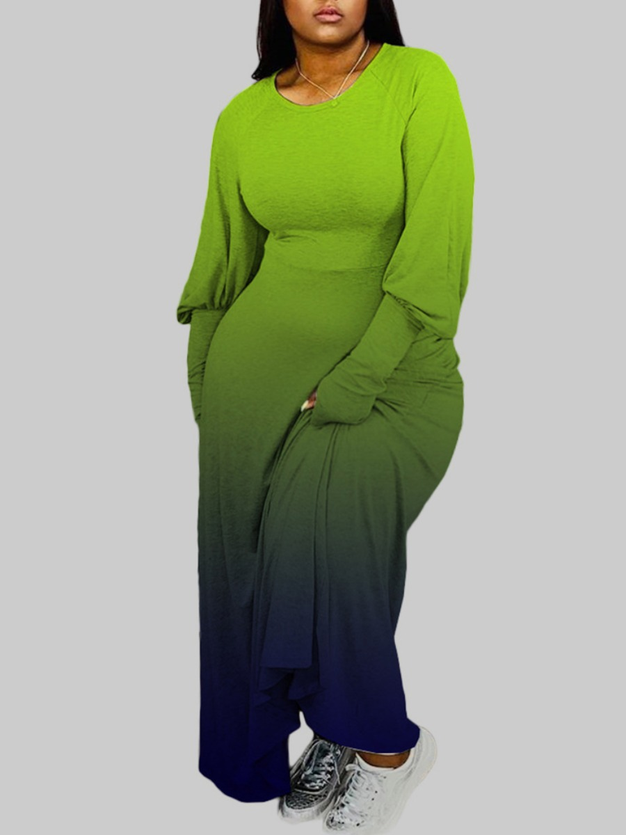 Lovely Trendy O Neck Gradient Green Ankle Length Plus Size Dress фото