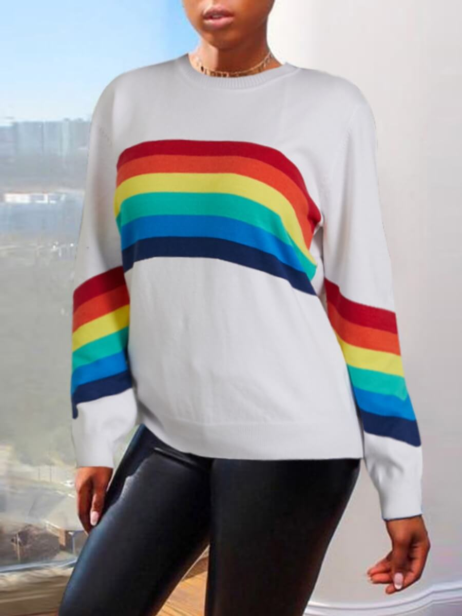 Sweaters & Cardigans lovely Casual O Neck Rainbow Striped White Sweater фото