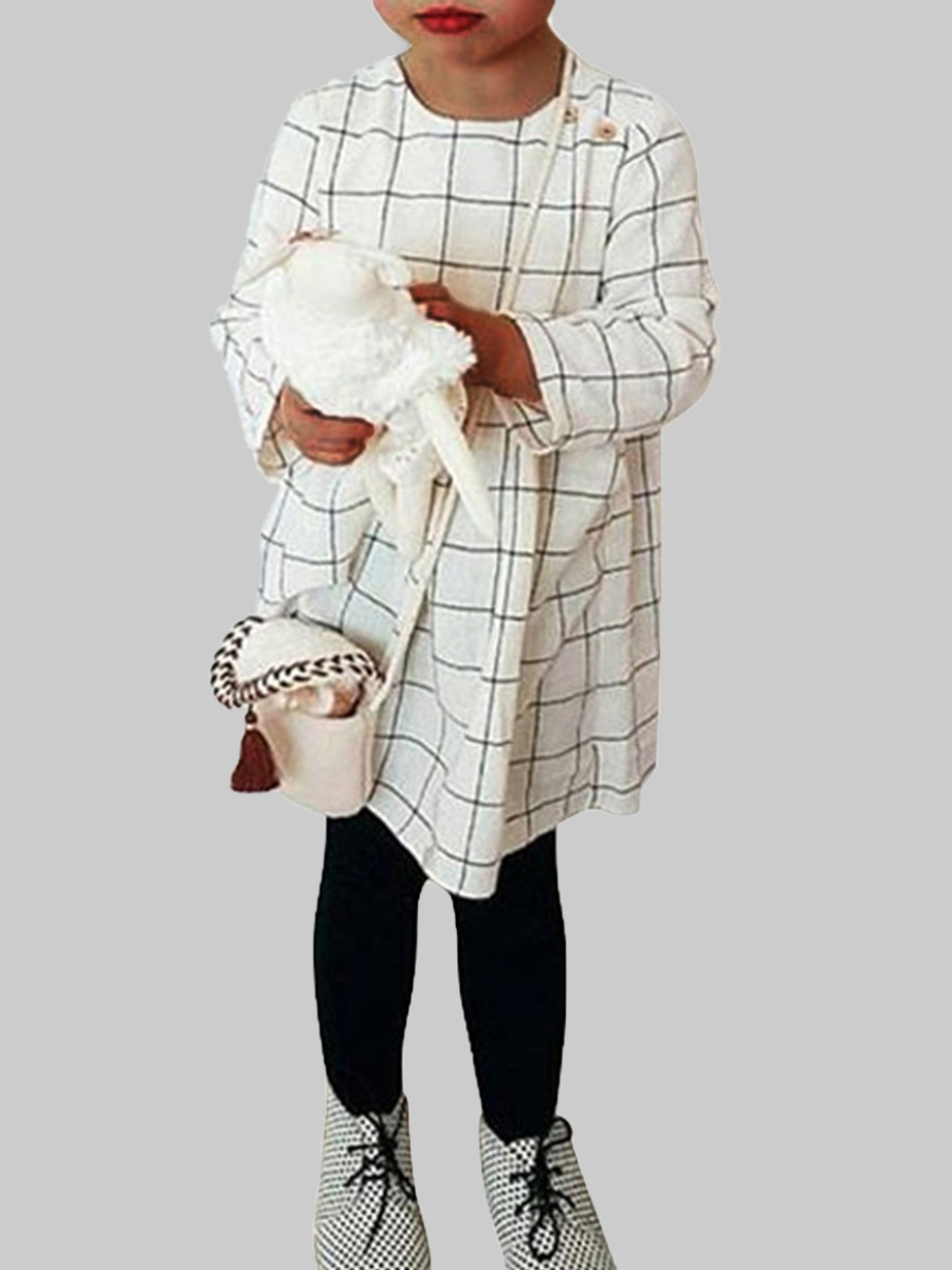 Girls Dress lovely Casual O Neck Grid Print White Grid Knee Length Girl Dress фото