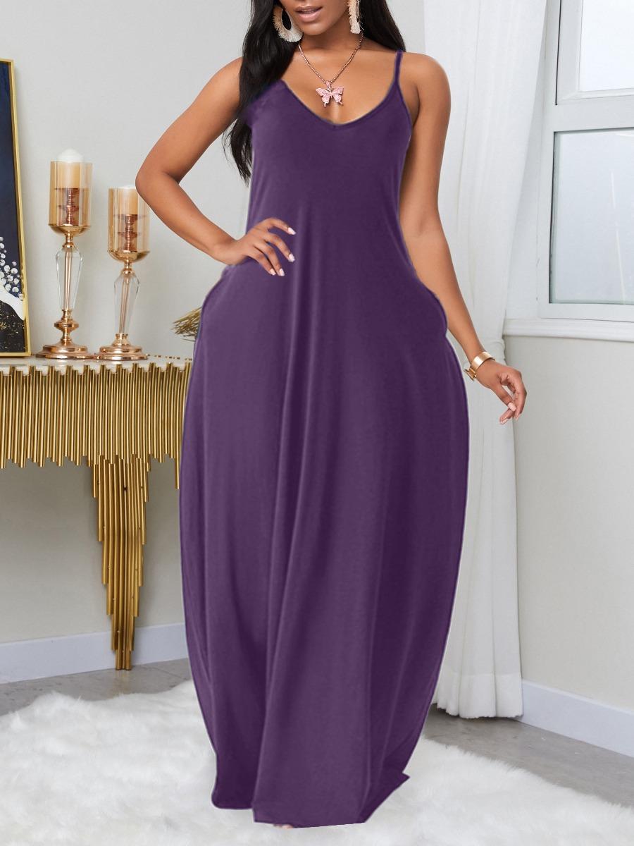LW BASIC Plus Size Leisure Pocket Patched Purple Maxi Dress