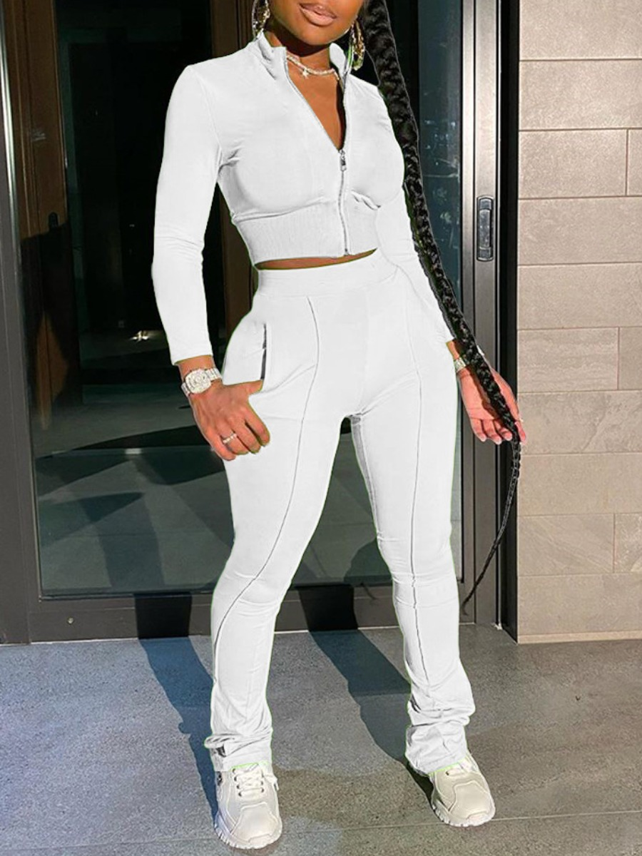 Two-piece Pants Set lovely Sportswear Zipper Design Patchwork White Two Piece Pants Set фото