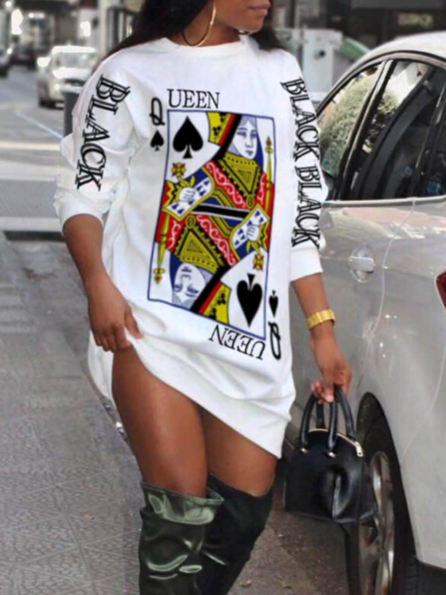 Lovely Street O Neck Print White Mini Dress