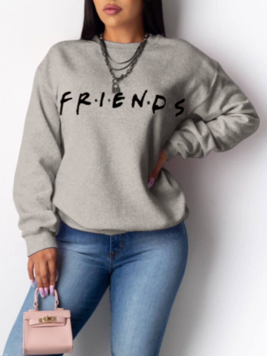 Hoodies Lovely Casual O Neck Letter Print Grey Hoodie фото