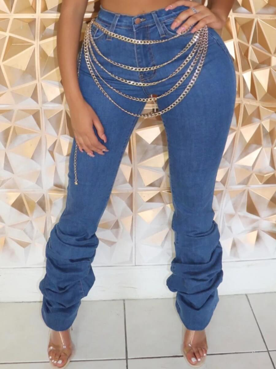 Lovely Casual Fold Design Blue Plus Size Jeans