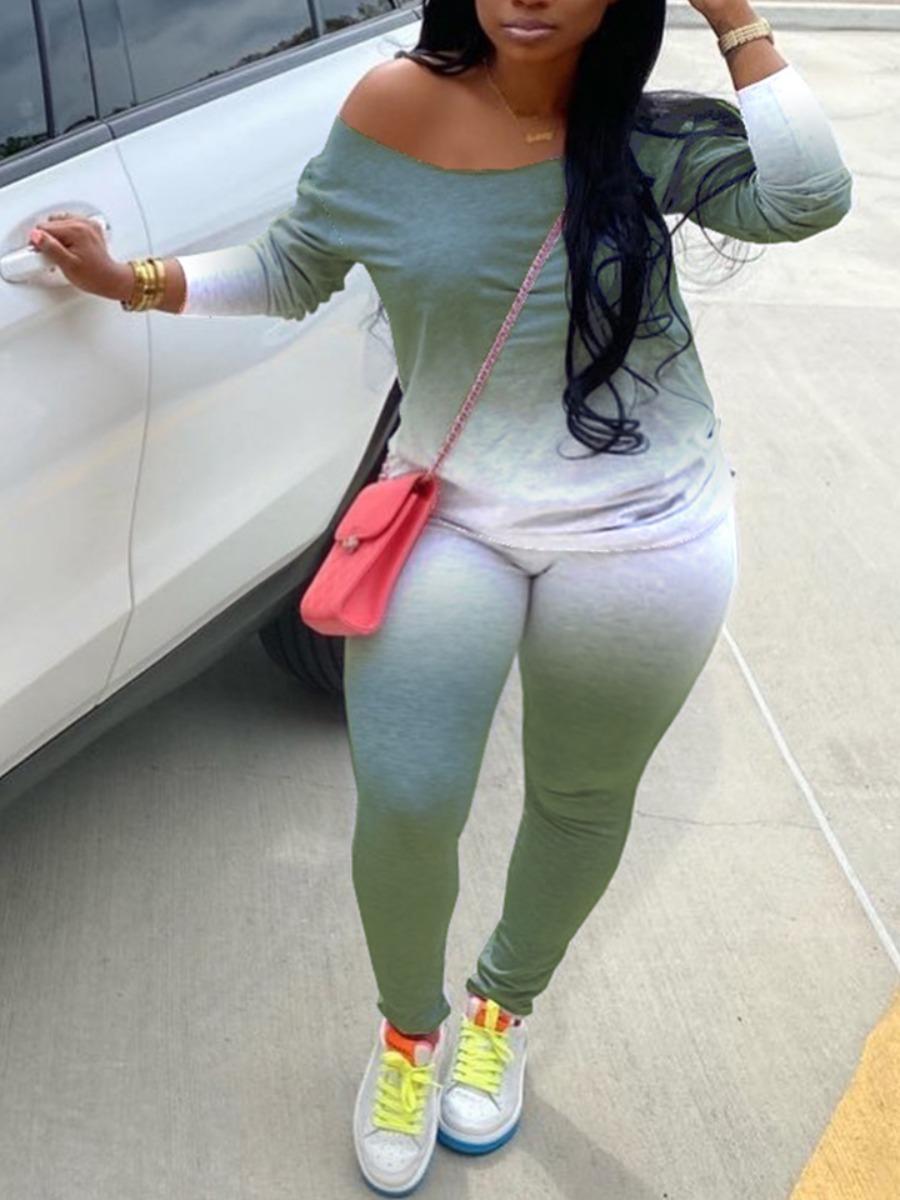 Lovelywholesale coupon: LW BASICS Plus Size Gradient Green Pants Set