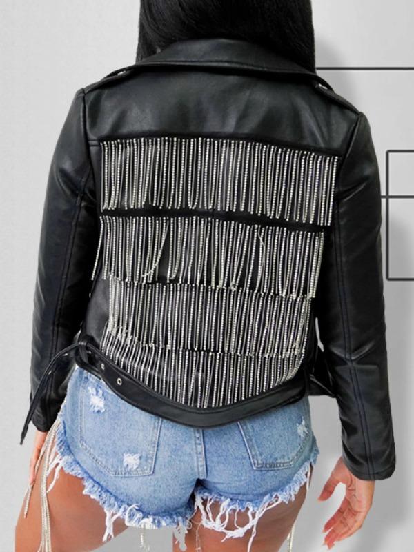 lovely Street Turndown Collar Tassel Design Black Jacket