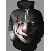 lovely Street Hooded Collar Clown Print Pitch-black Hoodie