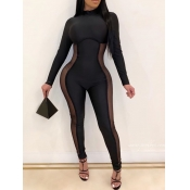 lovely Sexy Patchwork See-through Black One-piece Jumpsuit