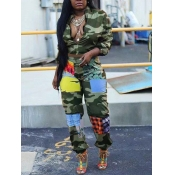 lovely Street Zipper Design Camo Print Green Two Piece Pants Set