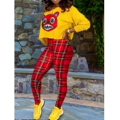 lovely Casual Cartoon Print Yellow Two Piece Pants Set