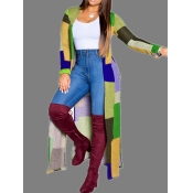 lovely Casual Color-lump Patchwork Yellow Trench Coat