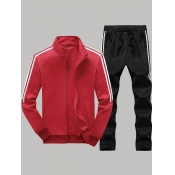 lovely Leisure Zipper Design Patchwork Red Men Two