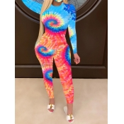 Lovely Trendy O Neck Tie Dye Blue Two Piece Pants Set