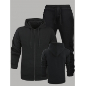 Lovely Men Sportswear Hooded Collar Zipper Design