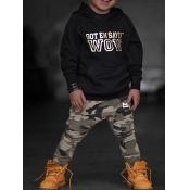 lovely Street Hooded Collar Print Black Boy Two-piece Pants Set