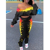 Lovely Trendy Dew Shoulder Graffiti Print Yellow Two Piece Pants Set