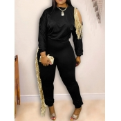 lovely Leisure O Neck Tassel Design Hollow-out Black Two Piece Pants Set