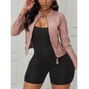 Lovely Trendy Zipper Design Pink Jacket