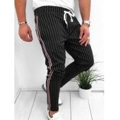 lovely Casual Striped Drawstring Black Men Pants