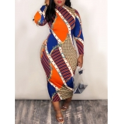 lovely Casual O Neck Print Color-lump Patchwork Multicolor Mid Calf Dress