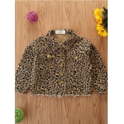 lovely Trendy Turndown Collar Leopard Print Girl Coat