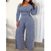 lovely Trendy Striped Blue One-piece Jumpsuit(Batch Striped Print)