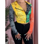 Lovely Stylish Print Patchwork Multicolor Jacket
