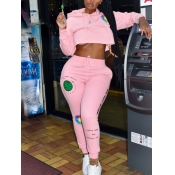 lovely Leisure Hooded Collar Print Pink Plus Size Two Piece Pants Set