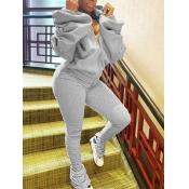 Lovely Sportswear Hooded Collar Fold Design Grey Two Piece Pants Set