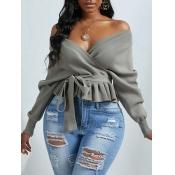 lovely Casual V Neck Fold Design Grey Sweater