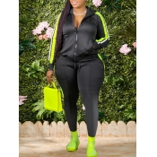 Lovely Sportswear Hooded Collar Patchwork Black Plus Size Two-piece Pants Set